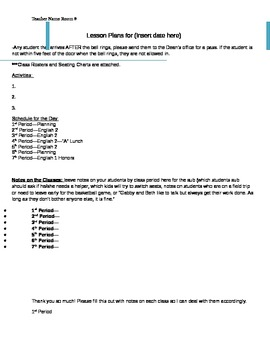 MiddleHigh School Sub Lesson Plan Template By Carrie Friday TpT - High school lesson plan template