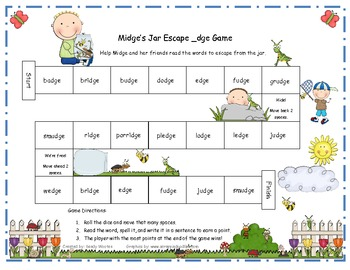 Midge's Jar Escape _dge Word Game RF.1.3, RF.2.3