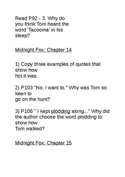Midnight Fox by Betsy Byers Reading Comprehension Questions