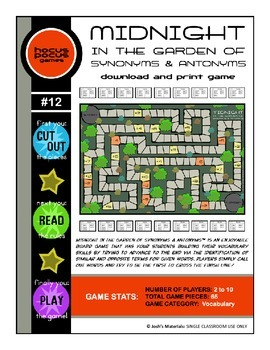 Midnight In the Garden of Synonyms & Antonyms (Download & Print Game)