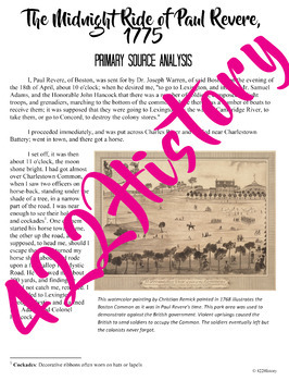Midnight Ride of Paul Revere Primary Source Analysis FREEBIE