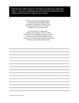 Midnight Ride of Paul Revere Writing prompt