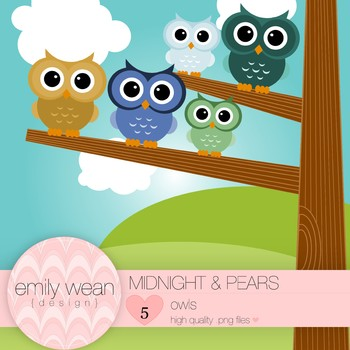 Midnight and Pears- Owl Clip Art