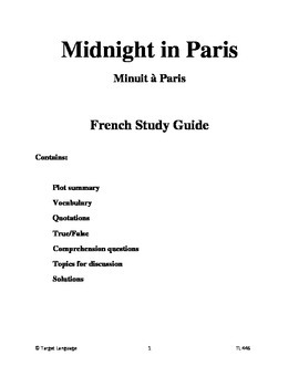 Midnight in Paris-French Study Guide