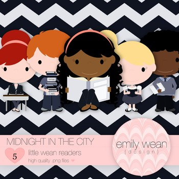 Midnight in the City - Little Readers Clip Art