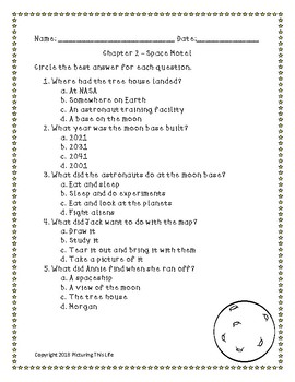 Midnight on the Moon Magic Tree House #8 Chapter & Whole Book Test w/ Answer Key