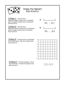 Midpoint Activity using Dice and Poster and Homework