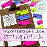 Midpoint Formula, Distance Formula, and Slope Formula Activity