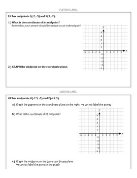 Midpoint Formula - Coordinate Plane