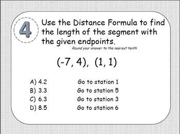 Midpoint Formula, Distance Formula & Pythagorean Theorem Station Activity