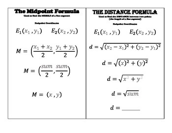Midpoint Formula, Distance Formula & Pythagorean Theorem Template