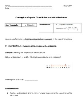 Midpoint Formula Guided Notes