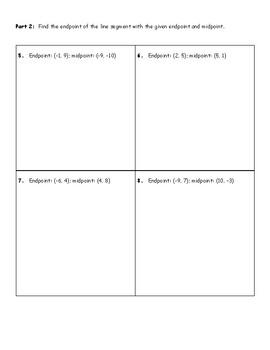 Midpoint Formula Worksheet