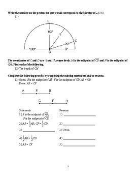 Midpoint Theorem and Proof Worksheet (with KEY)
