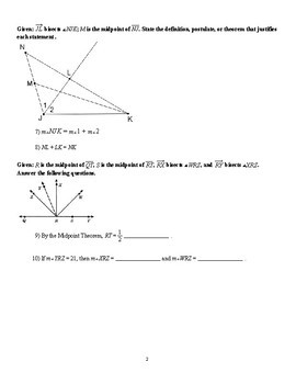 Midpoint Theorem and Proof Worksheets