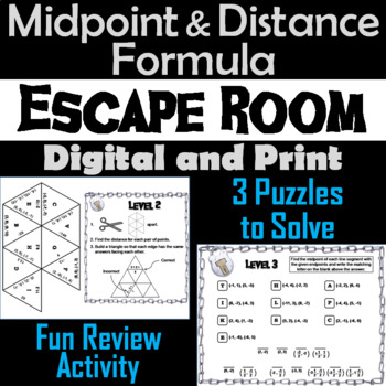 Midpoint and Distance Formula Game: Geometry Escape Room - Math