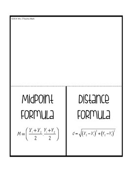 Midpoint and Distance Formula Foldable