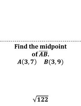 Midpoint and Distance Formula Scavenger Hunt Game