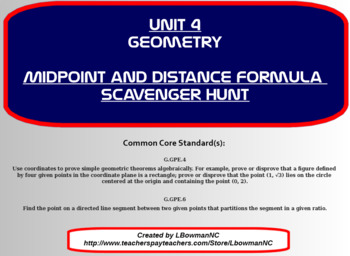 Midpoint and Distance Formula Scavenger Hunt (Math 1)