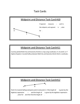 Midpoint and Distance Task Cards