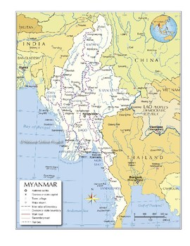 Midpoint and Distance Formulas with Burma Map (Real World)