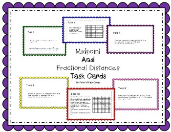 Midpoints and Fractional Distances Task Cards