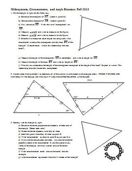 Midsegments Circumcenters and Angle Bisectors Fall 2013