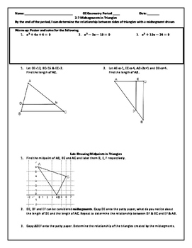 Midsegments in Triangles (Word)