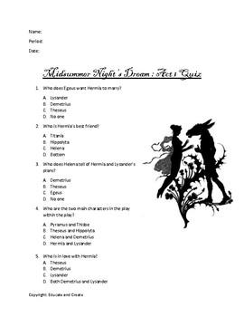 Midsummer Night's Dream Act 1 Quiz