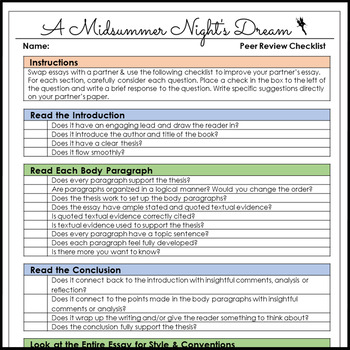 A Midsummer Night's Dream One Week Essay Unit for Literary Analysis Writing