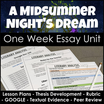 A Midsummer Night's Dream Essay Unit for Literary Analysis Writing