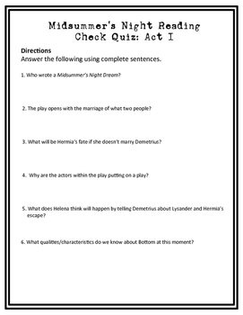 Midsummer Night's Dream Reading Check Quiz Act I