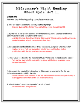 Midsummer Night's Dream Reading Check Quiz Act II