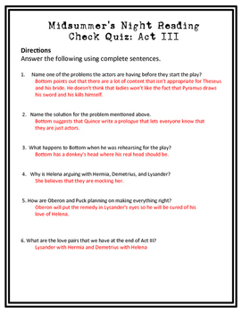 Midsummer Night's Dream Reading Check Quiz Act III