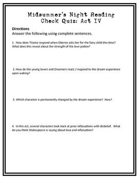 Midsummer Night's Dream Reading Check Quiz Act IV
