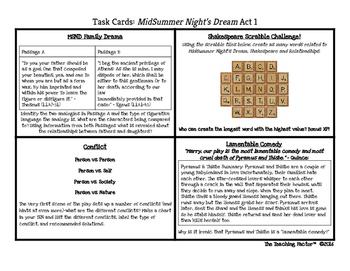 Midsummer Night's Dream Task Cards