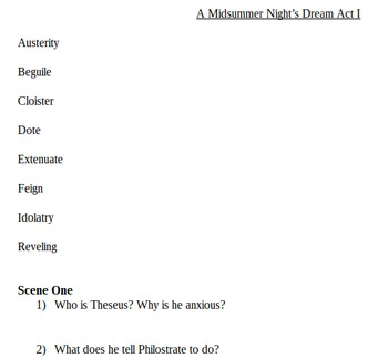 A Midsummer Night's Dream Vocab and Questions