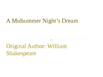 Midsummer Nights Dream...simplified