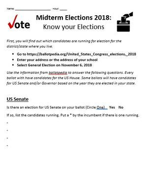 Midterm Elections 2018 BUNDLE! (Four Resources in One!)