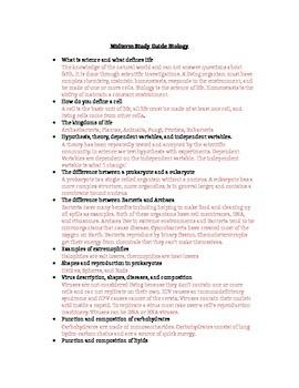 Midterm Study Guide High School Biology