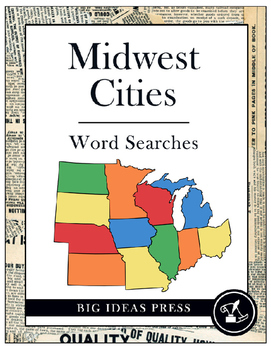 Midwest Cities Word Search Bundle Pack (Grades 3-5)