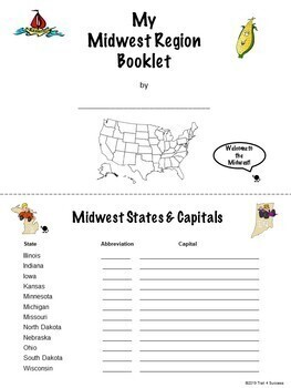 Midwest Region Unit Activity Booklet - Interactive Notebook Lesson Worksheets