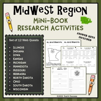 Midwest Region Bundle of 12 State Webquests Mini Book Research Activities