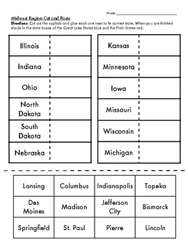 midwest region cut and paste states and capitals