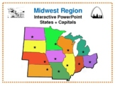 Midwest Region Interactive States + Capitals PowerPoint Google Slides