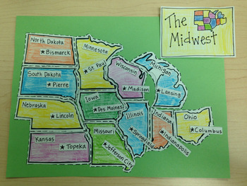 Midwest Region Puzzle-Label States and Capitals