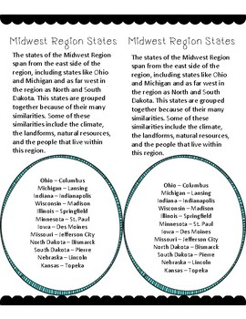 Midwest Region Reading Passages Printable