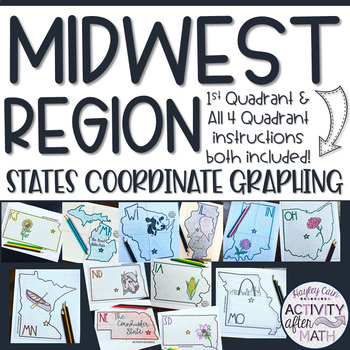 Midwest Region STATES Coordinate Graphing Pictures BUNDLE