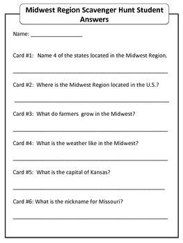 Midwest Region Scavenger Hunt - U.S. Regions