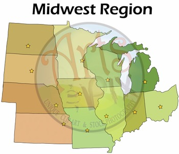 "CLIPART - ""Midwest Region States"" - PNG ClipArt - MAPS"